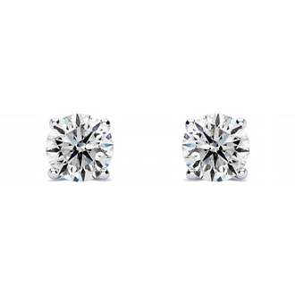 Genuine, Natural, Earth-Mined Colorless 1/3 Carat Diamond Stud Earrings, D-E-F Diamonds. Very White, Very Shiny!