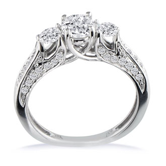 1 Carat Round Diamond Engagement Ring in 18k White Gold