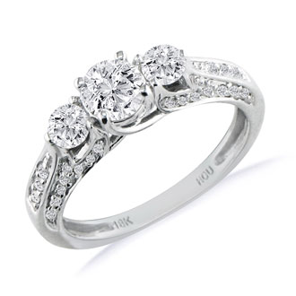 Hansa 3ct Diamond Round Engagement Ring in 18k White Gold, H-I, SI2-I1, Available Ring Sizes 4-9.5