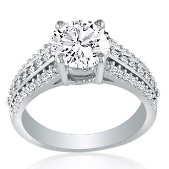 1 1/3 Carat Round Diamond Engagement Ring in 14k White Gold