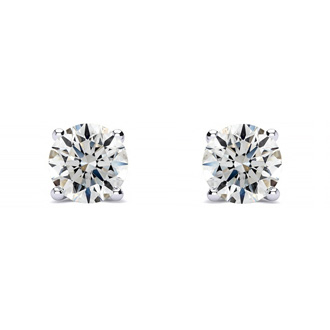 1/2ct Fine Quality Diamond Stud Earrings In Platinum