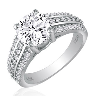 Hansa 2 1/2ct Diamond Round Engagement Ring in 18k White Gold, H-I, SI2-I1, Available Ring Sizes 4-9.5