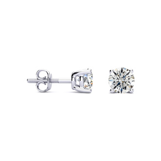 3/4ct Fine Quality Diamond Stud Earrings In Platinum