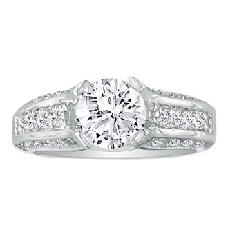 3.66 Carat Round Diamond Engagement Ring in 14k White Gold