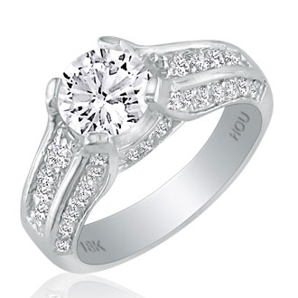 Hansa 1 3/4ct Diamond Round Engagement Ring in 18k White Gold, H-I, SI2-I1, Available Ring Sizes 4-9.5
