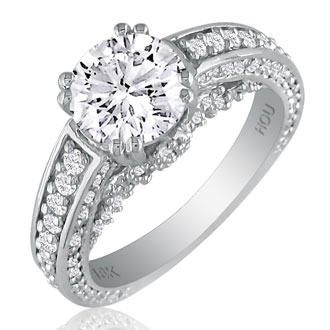 Hansa 1 2/3ct Diamond Round Engagement Ring in 18k White Gold, H-I, SI2-I1, Available Ring Sizes 4-9.5