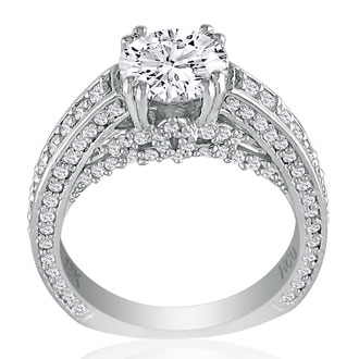 Hansa 1.90ct Diamond Round Engagement Ring in 18k White Gold, H-I, SI2-I1, Available Ring Sizes 4-9.5