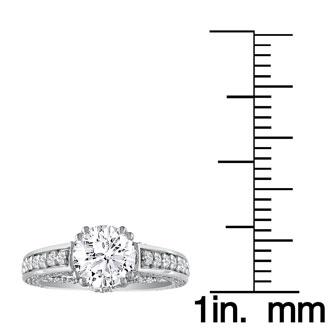 2 Carat Round Diamond Engagement Ring in 18k White Gold