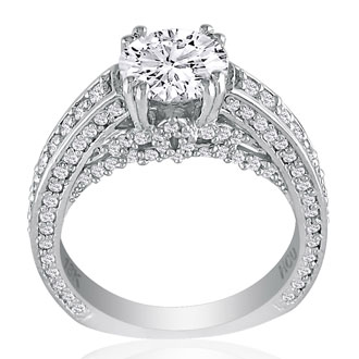 Hansa 3 1/4ct Diamond Round Engagement Ring in 18k White Gold, H-I, SI2-I1, Available Ring Sizes 4-9.5