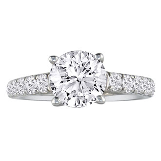 Hansa 1ct Diamond Round Engagement Ring in 18k White Gold, H-I, SI2-I1, Available Ring Sizes 4-9.5