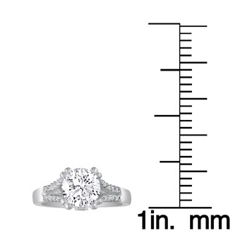 2/3 Carat Round Diamond Engagement Ring in 14k White Gold, H-I, SI2/I1,