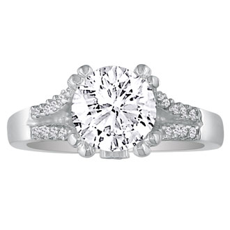 Hansa 1ct Natural Diamond Round Engagement Ring in 14k White Gold. Clearance