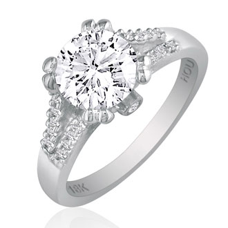 Hansa 1 1/4 Carat Diamond Round Engagement Ring in 18k White Gold