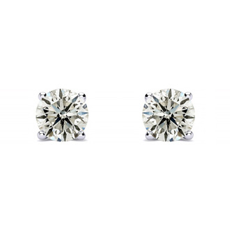 1/3 Carat Diamond Stud Earrings In Platinum