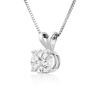3/4ct 14k White Gold Diamond Pendant On Gold Box Chain
