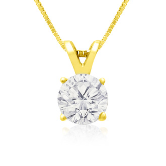 Pretty 3/4ct 14k Yellow Gold Diamond Pendant