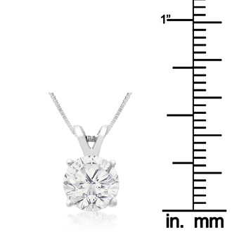 1.50ct 14k White Gold Diamond Pendant, 4 stars