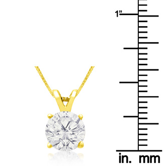1.50ct 14k Yellow Gold Diamond Pendant, 4 stars