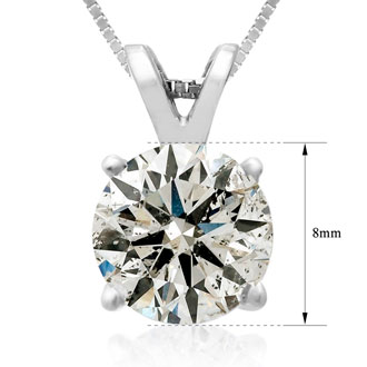 2ct Diamond Pendant in 14k White Gold