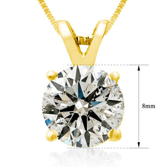 2.00ct Diamond Pendant in 14k Yellow Gold