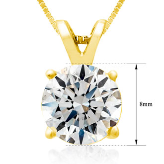 Fine 2.00ct 14k Yellow Gold Diamond Pendant, Lowest Price Ever.