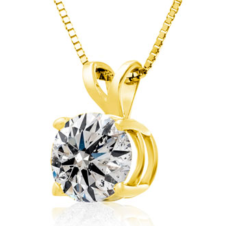 2.00ct 14k Yellow Gold Diamond Pendant, 4 stars