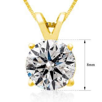 2.00ct 14k Yellow Gold Diamond Pendant, 4 stars