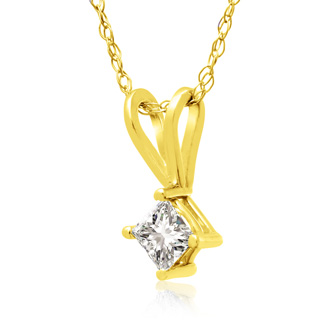 1/6ct 14k Yellow Gold Princess Diamond Pendant