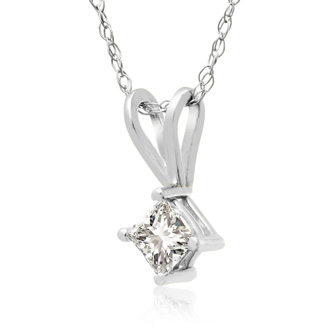 1/5ct Princess Diamond Pendant in 14k White Gold