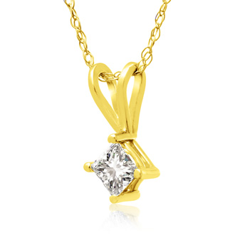 1/5ct 14k Yellow Gold Princess Diamond Pendant