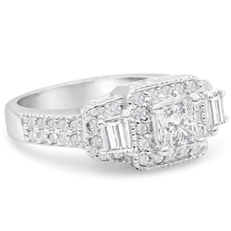 2.08ct Diamond Engagement Ring In 14 Karat White Gold, Including 1.19ct Center Stones, G-H, SI2-SI3