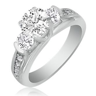 1.65ct Diamond Engagement Ring In 14K White Gold, 1ct Center Stone