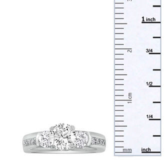 1.65ct Diamond Engagement Ring In 14K White Gold, 1ct Center Stone