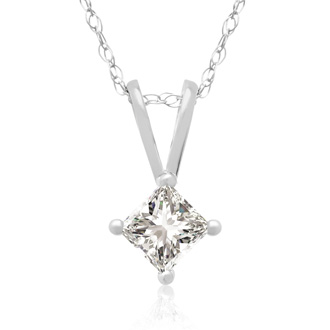 1/4ct 14k White Gold Princess Diamond Pendant