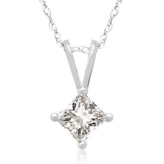 1/3ct 14k White Gold Princess Diamond Pendant, Sale Priced.