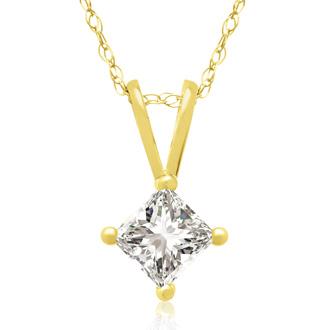 1/3ct 14k Yellow Gold Princess Diamond Pendant, Sale Priced.