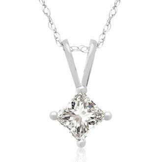 1/3ct 14k White Gold Princess Diamond Pendant