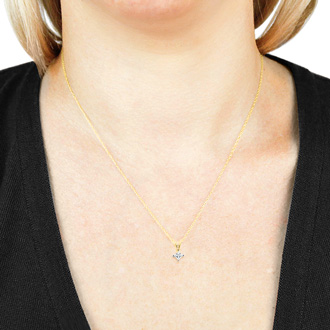 1/3ct 14k Yellow Gold Princess Diamond Pendant
