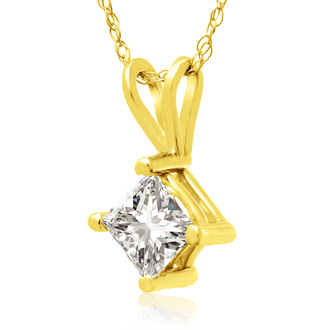2/3ct 14k Yellow Gold Princess Diamond Pendant