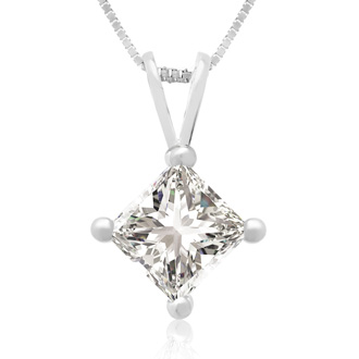 3/4ct 14k White Gold Princess Diamond Pendant