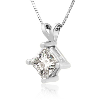 .85ct 14k White Gold Princess Diamond Pendant