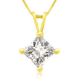 .85ct 14k Yellow Gold Princess Diamond Pendant
