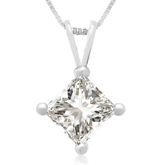 1.00ct 14k White Gold Princess Diamond Pendant