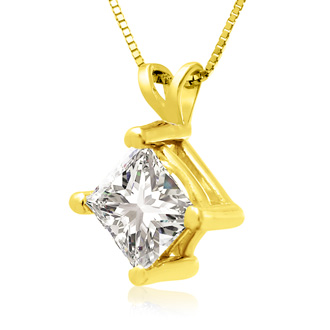 1.50ct 14k Yellow Gold Princess Diamond Pendant