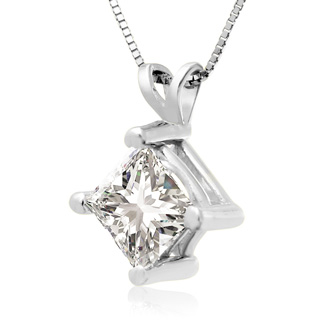 1.50ct 14k White Gold Princess Diamond Pendant