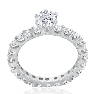 1.65ct Diamond White Gold Eternity Bridal Engagement Ring, Ring Sizes 4 to 9.5