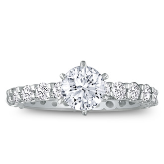 2 3/4ct Diamond White Gold Eternity Bridal Engagement Ring, Ring Sizes 4 to 9.5