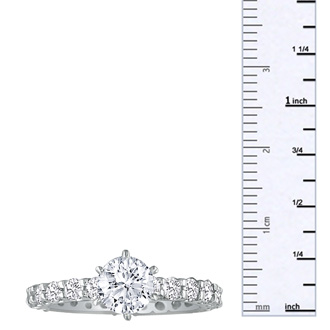 3.00ct Diamond White Gold Eternity Bridal Engagement Ring, 1 Carat Center, Ring Sizes 4 to 9.5