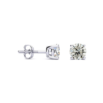 3/4ct Classic Quality Diamond Stud Earrings In Platinum