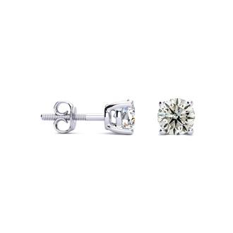 3/4 Carat Diamond Stud Earrings In Platinum (J-K, I1-I2)
